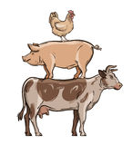 Farm animals. cow, pig, chicken. vector illustration Stock Photography
