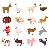 Farm animals cute set in cartoon style isolated on white background. Vector illustration. Cute cartoon animals vector illustration