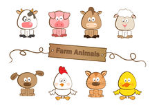 Farm Animals. Cute set of eight farm animals. Eps10 Royalty Free Stock Images