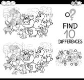 Farm animals difference game. Black and White Cartoon Illustration of Finding Differences Educational Activity for Children with Farm Animal Characters Coloring Royalty Free Stock Image