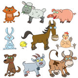 Farm animals doodle icon set Royalty Free Stock Images