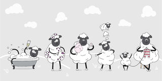 Farm animals. Family of cute sheeps. Illustration for children. Funny cartoon characters. Everyday behaviours. Stock Images