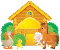 Farm animals in a farmyard Stock Photos