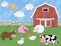 Farm animals in the field Stock Photos