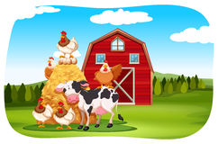 Farm animals in the field. Illustration Royalty Free Stock Photo