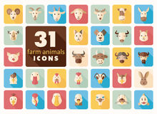 Farm animals flat icons set. Vector head. Royalty Free Stock Photos