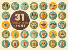 Farm animals flat icons set. Vector head. Stock Photo