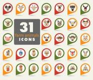 Farm animals flat pin map icon set. Vector head Stock Photos