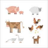 Farm animals. In flat style. Can be used for web, games: sprites nd tile sets Stock Photography