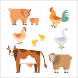 Farm animals. In flat style. Can be used for web, games: sprites nd tile sets Royalty Free Stock Photos