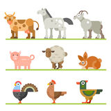 Farm animals. Animals for food. Birds and fish. Domestic and wild pets that eat by people. Vector flat illustration Stock Photography
