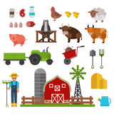 Farm animals, food and drink production symbols, organic product, machinery and tools on the farm vector illustration. Royalty Free Stock Photos