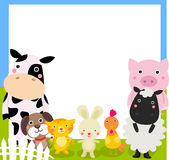 Farm animals frame. Illustration of cute farm animals frame Royalty Free Stock Photos