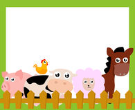 Farm animals and frame Royalty Free Stock Photo