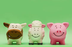 Farm Animals Front. Cute Funny Farm Animals Toys Front Stock Photos