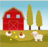 Farm Animals Fun Design. For website, company, shirt, travel, industry,drawing book Stock Photography