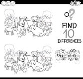 Farm animals game for coloring. Black and White Cartoon Illustration of Finding Differences Educational Game for Children with Farm Animal Characters Coloring Royalty Free Stock Photo