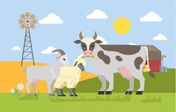 Farm animals graze on the field. Farm landscape with windmill. Cute goat, sheep and cow chewing grass. Vector flat illustration vector illustration