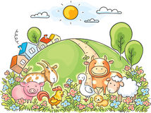 Farm animals. And the green hill royalty free illustration