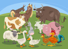 Farm animals group cartoon Royalty Free Stock Photos