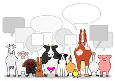 Farm animals group with speech bubbles Stock Image