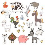 Farm animals. Hand drawn farm animals set vector illustration Stock Photo