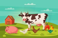 Farm animals and house. Village. Cartoon vector illustration. Hen, cow, rooster and pig. For banners and posters Stock Photos