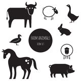 Farm animals icon set Royalty Free Stock Images