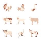 Farm animals icon set Royalty Free Stock Images