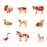 Farm animals icon set Stock Photography