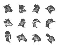 Farm Animals Icons Collection, Butchery Labels Templates Stock Photo