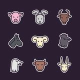 Farm animals icons, flat style with outline. Eps 10 file, easy to edit stock illustration