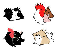 Farm Animals Icons. Farm animals heads silhouettes vector design template. Meat products concept icons vector illustration