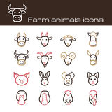 Farm animals icons Stock Photos