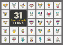 Farm animals icons set. Vector head illustration. Stock Photography