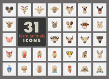Farm animals icons set. Vector head illustration. Set of farm animals icons. Vector head outline thin illustration. eps 10 Royalty Free Stock Photo