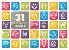 Farm animals icons set. Vector head illustration. Set of farm animals icons. Vector head outline thin illustration. eps 10 Stock Image