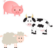 Farm Animals Illustrations, Cow Illustration, Pig Illustration, Sheep Illustration. Isolated farm animals illustrations on white background, cow illustration Stock Images
