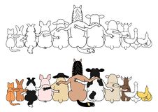 Free Farm Animals In A Row, Rear View Royalty Free Stock Photo - 161952795