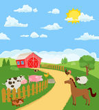Farm animals and items and a farm house. Vector Stock Photography