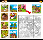 Farm animals jigsaw puzzle game. Cartoon Illustration of Education Jigsaw Puzzle Game for Preschool Children with Farm Animals Characters Group Stock Photo