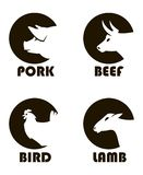 Farm animals labels. Monochrome labels of farm animals cow, pig, lamb and chicken royalty free illustration
