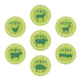 Farm animals labels templates of butchery shop Royalty Free Stock Image