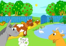 Farm animals at the lake. Cartoon illustration. Stock Photography