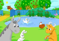 Farm animals at the lake. Children illustration. Royalty Free Stock Images