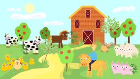 Farm animals with landscape vector. Farm animals with landscape . Cute cartoon vector illustration in flat style vector illustration