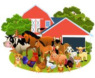 Farm animals like cow, horse, goat, pig, sheep, hen, goose, rabbit and others. Isolated on a white background Royalty Free Stock Images