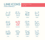 Farm animals - line design icons set Royalty Free Stock Images