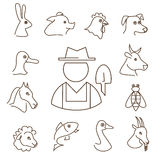 Farm animals linear icons set Royalty Free Stock Photos