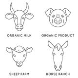 Farm animals logo collection. Great linear emblem for farming business. Modern business identity for bio products and agricultural industry vector illustration